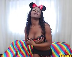 Bigtitted black tgirl tugging after teasing