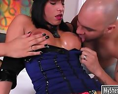Two luscious shemales fucked bald dude in his ass on the bed