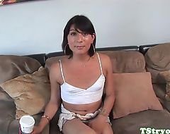 Auditioning tranny deepthroating cock POV