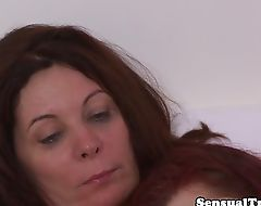 Redhead tgirl facesitting while jerking