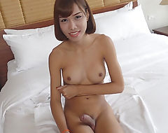 Huge titted brunette shemale gets her ass banged in bed