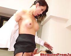 Stockinged japanese ladyboy fucked in ass