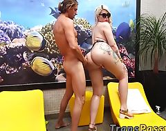 Cute blonde shemale enjoying hard sex session outdoor
