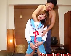 Cosplay ladyboy sucking dick before analsex